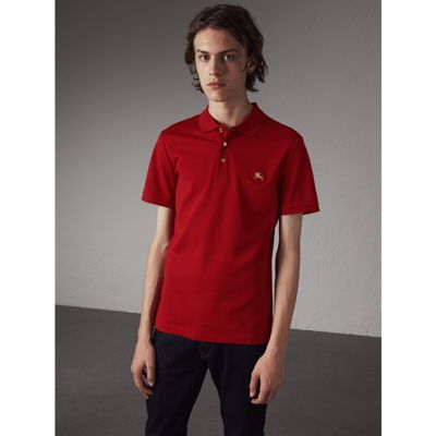 Burberry Kenforth Double-stitch Trim Polo Shirt In Military Red