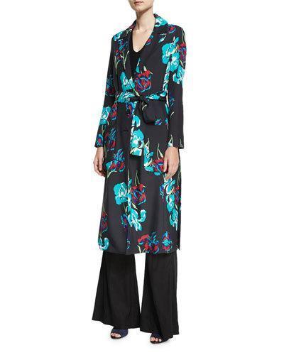 Diane Von Furstenberg Collared Floral-printed Silk Coat In Black