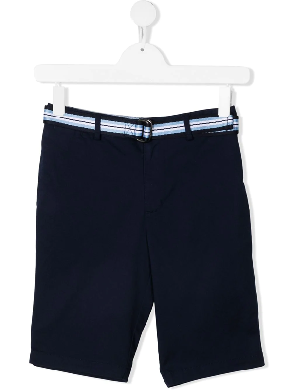 Polo Ralph Lauren Belted Stretch-cotton Shorts In Blue