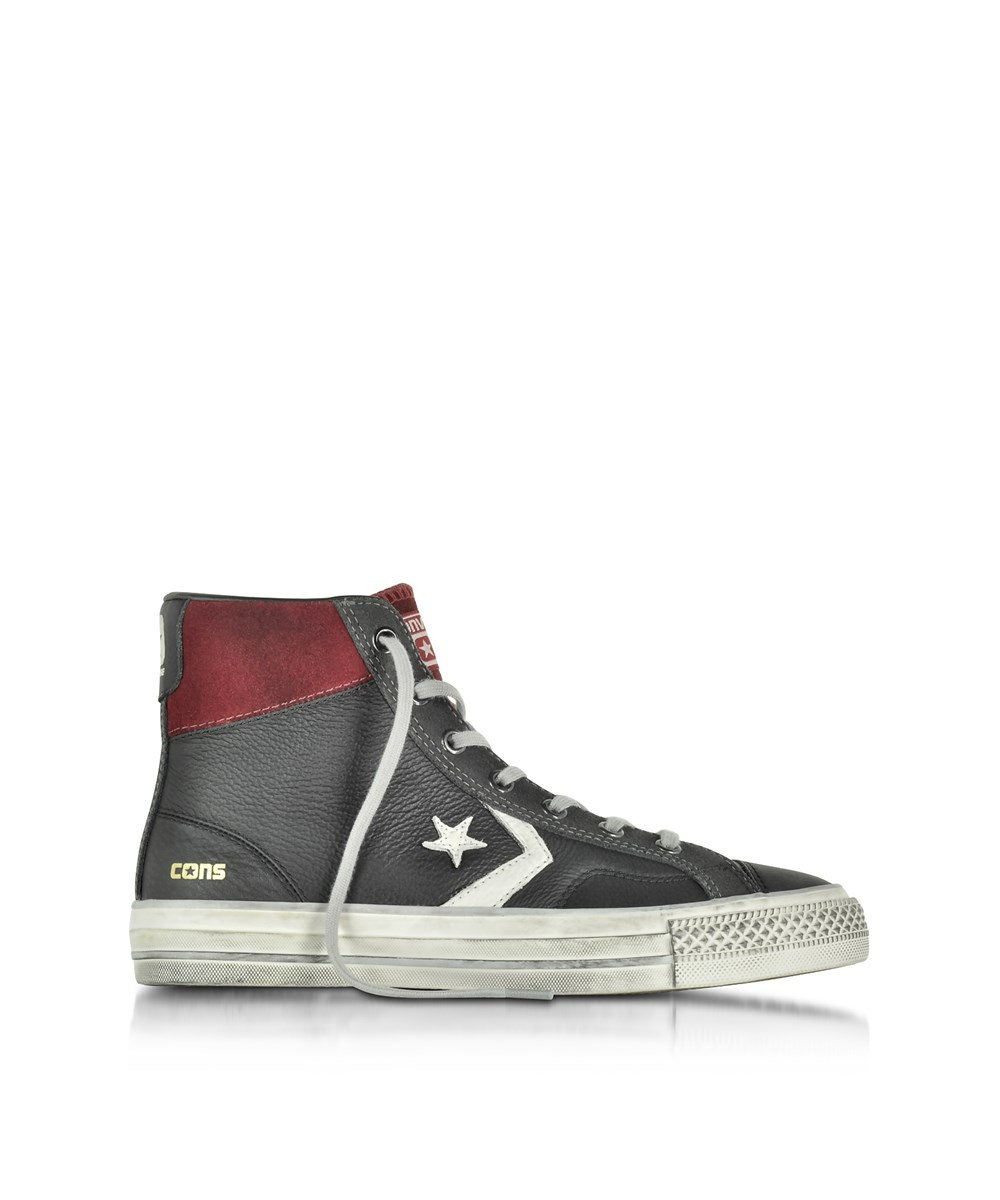 Converse Men's  Black Leather Hi Top Sneakers