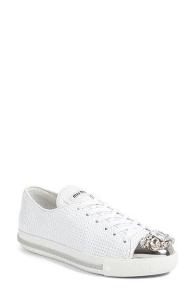 1fdced61f69 Miu Miu Jeweled Cap-Toe Low-Top Sneaker