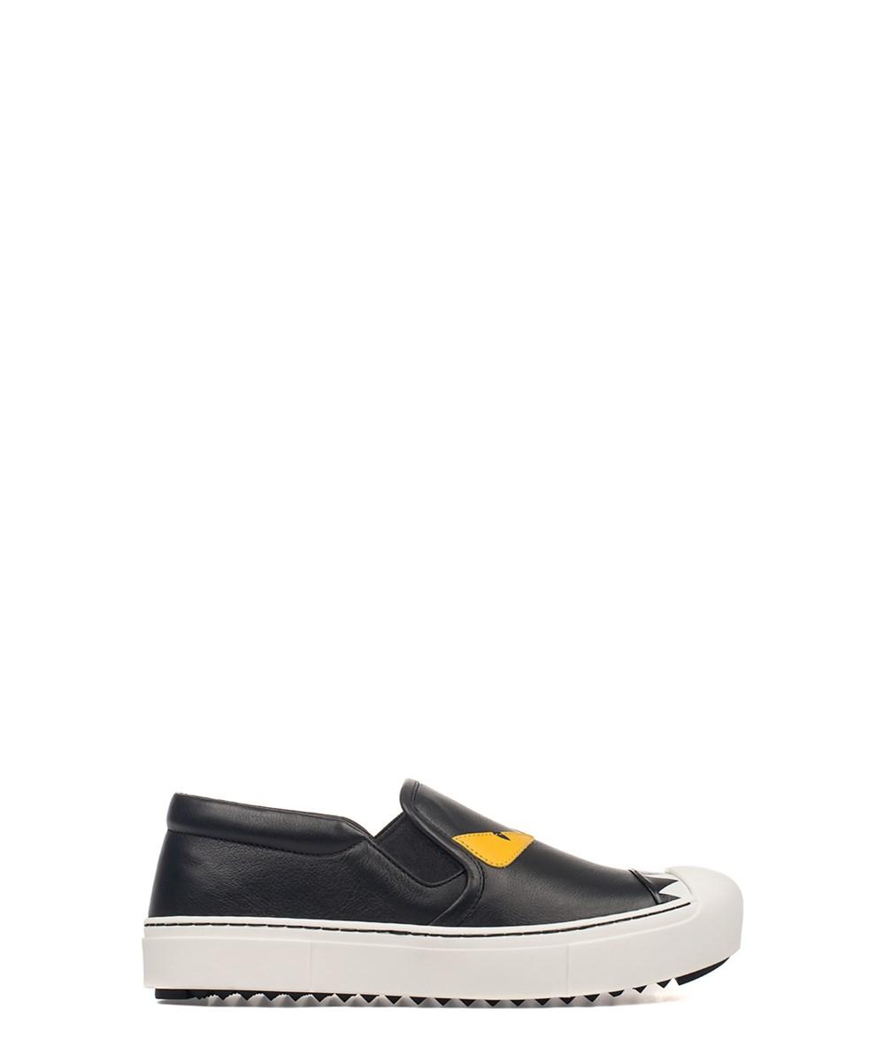 Fendi Women's  Black Leather Slip On Sneakers