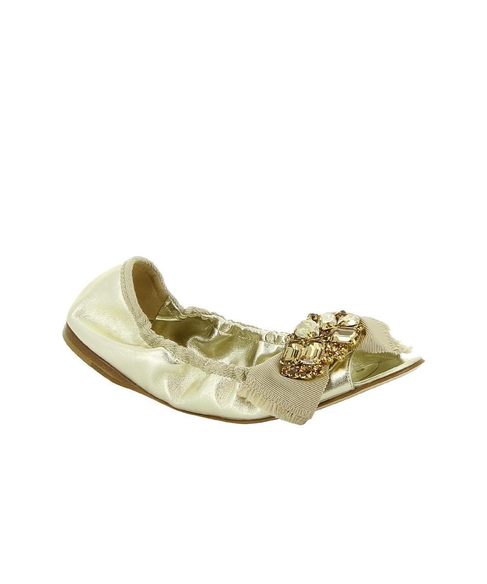 Miu Miu Women's  Gold Leather Flats