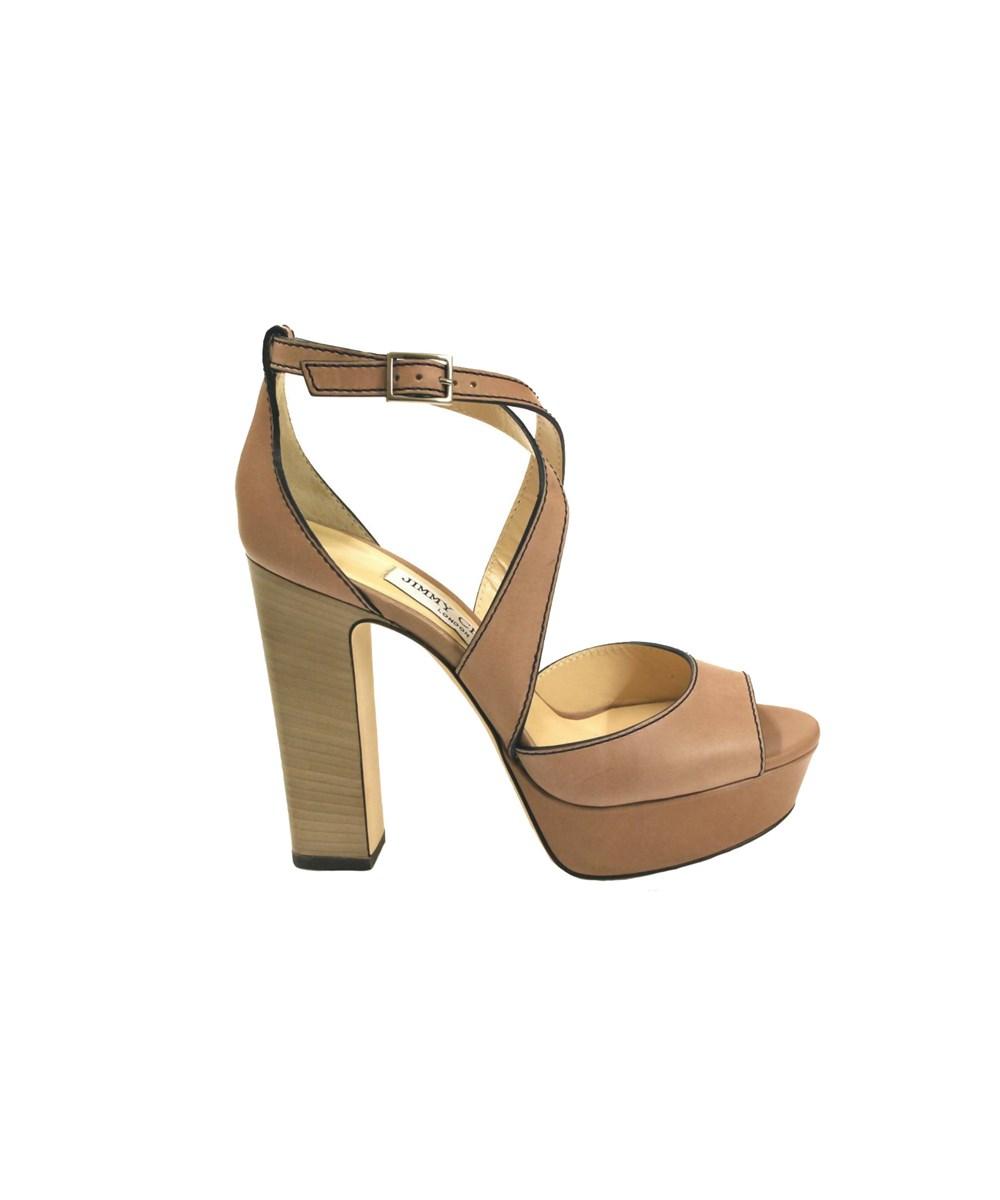 Jimmy Choo Women's  Beige Leather Sandals In Brown
