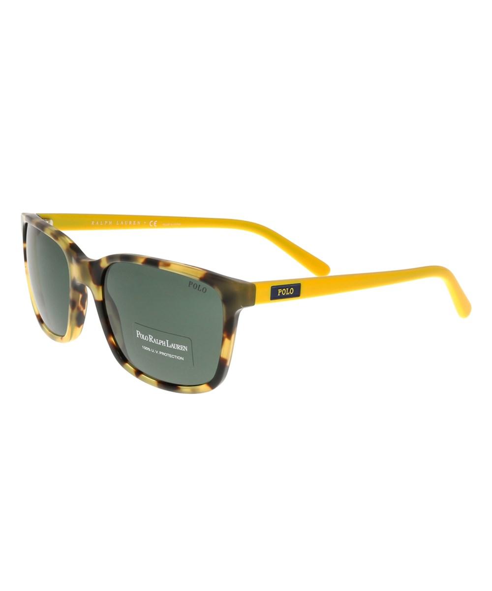 Ralph Lauren Ph4103 554871 Havana/yellow Rectangle Sunglasses In Brown