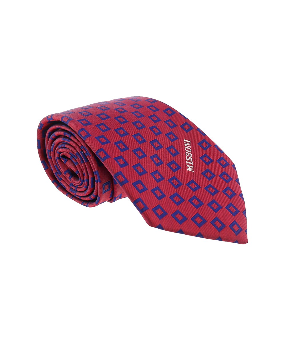 Missoni Square Red/blue Woven 100% Silk Tie
