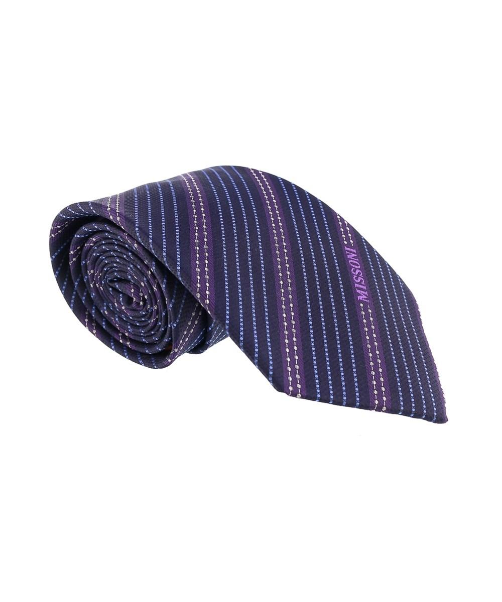 Missoni Multi Stripe Blue/purple Woven 100% Silk Tie
