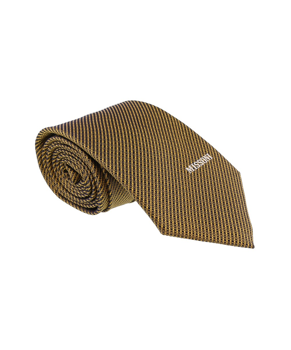 Missoni Interlock Woven Gold Woven 100% Silk Tie
