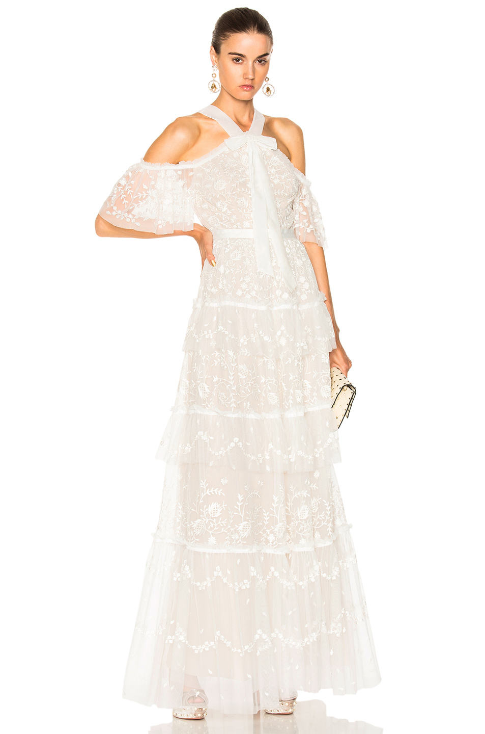 Needle & Thread Primrose Gown In White. In Ivory