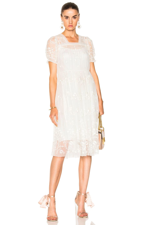 Needle & Thread Embroidered Midi Dress In White