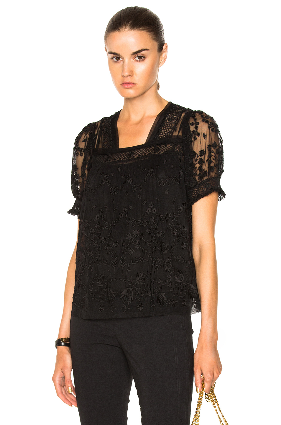 Needle & Thread Embroidered Top In Black