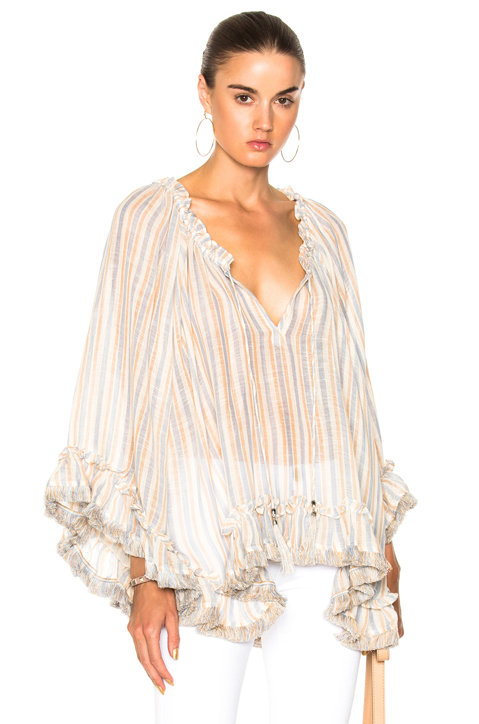 Zimmermann Meridian Flared Frill Top In Blue, Neutrals, Stripes.