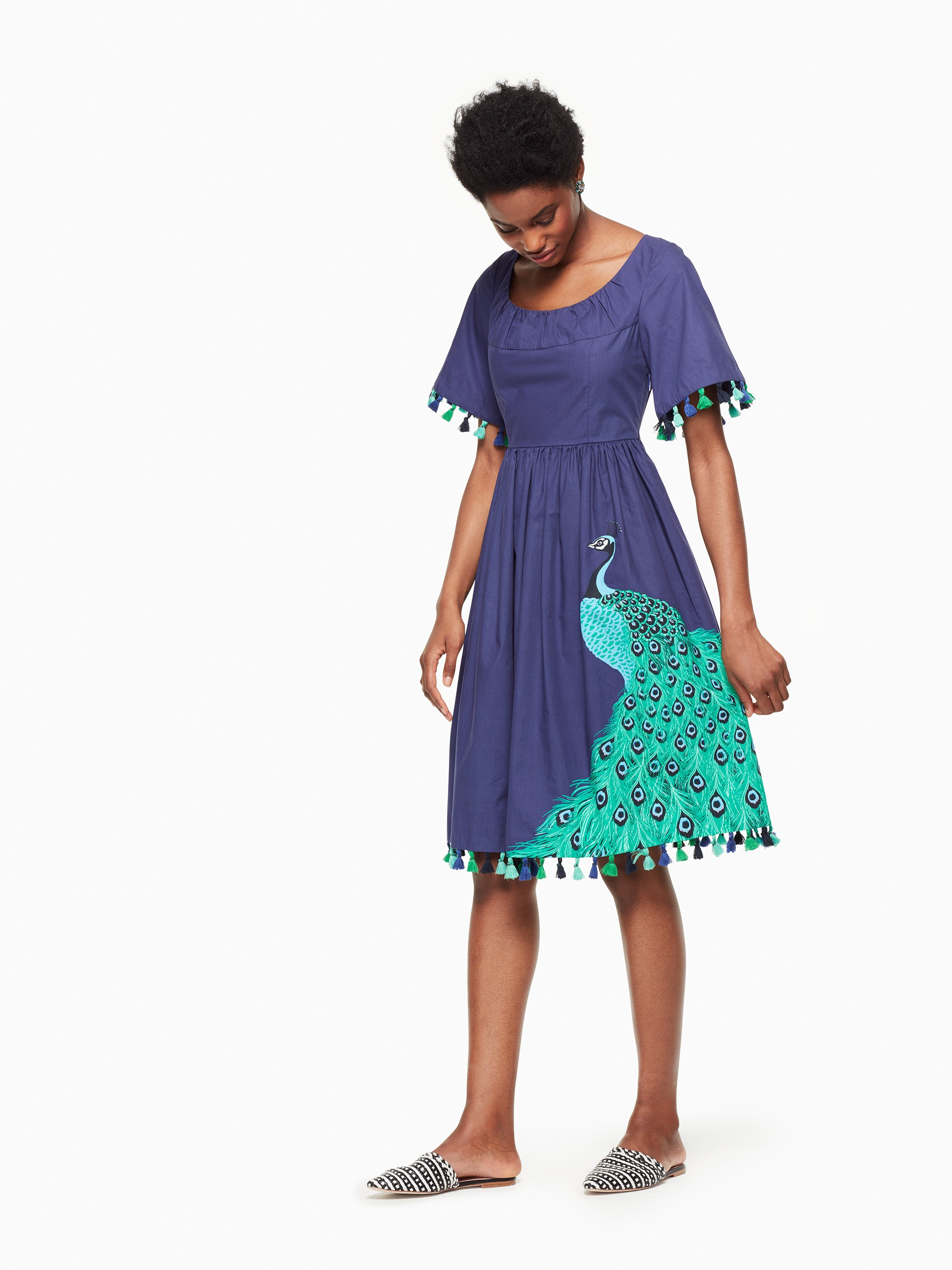 Kate Spade Plume Poplin Dress In Deep Sea