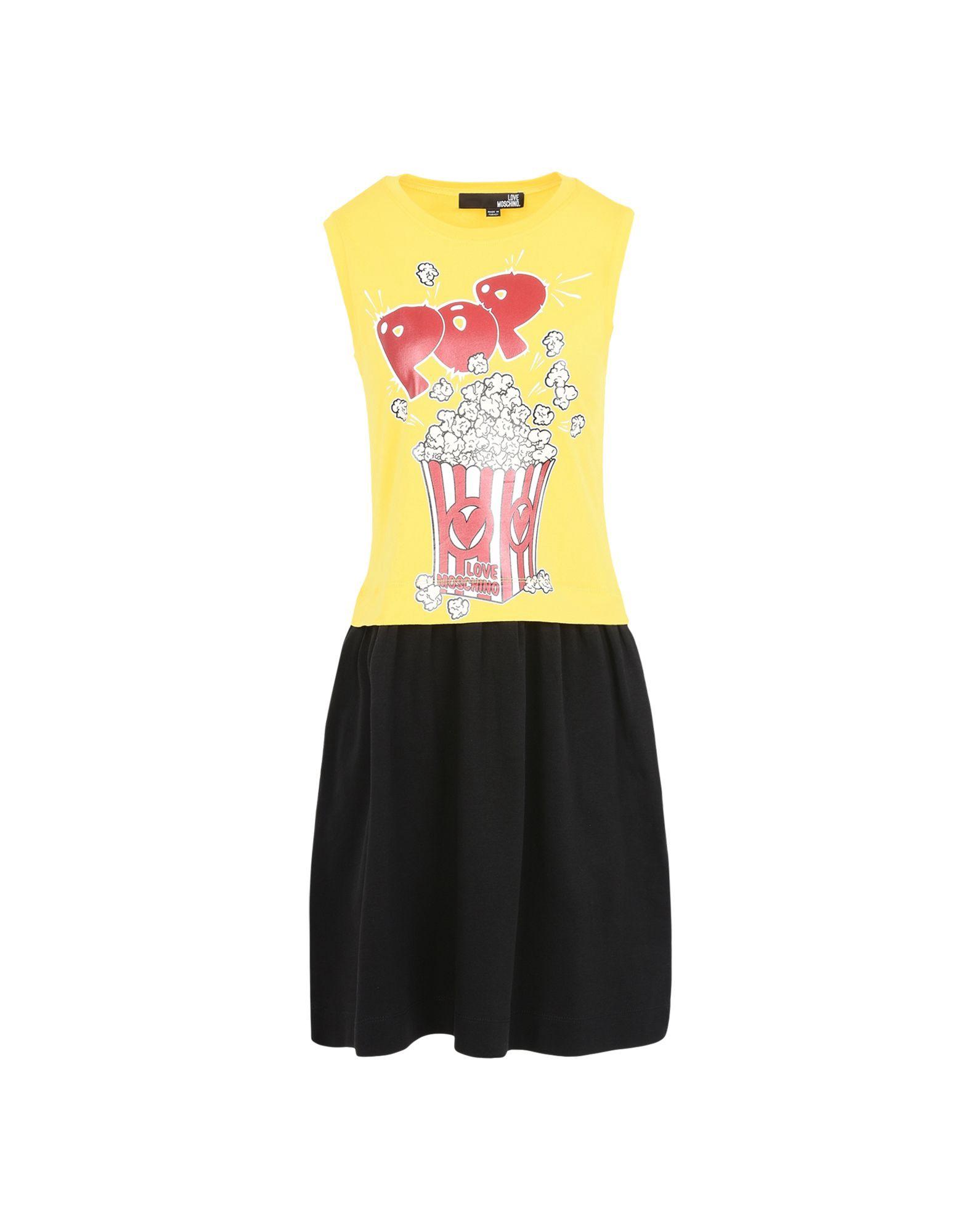 Moschino Pop Corn Dress In Giallo-nero