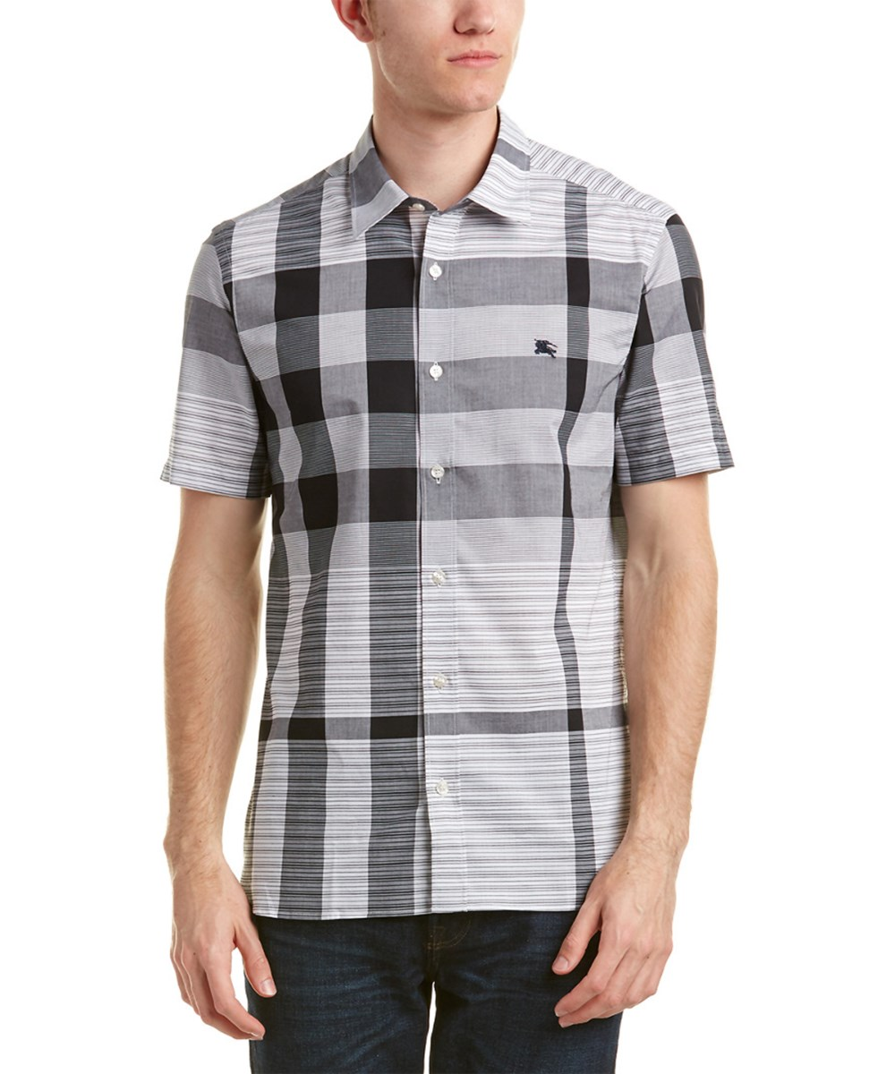 Burberry Short Sleeved Check Cotton Shirt' In Black