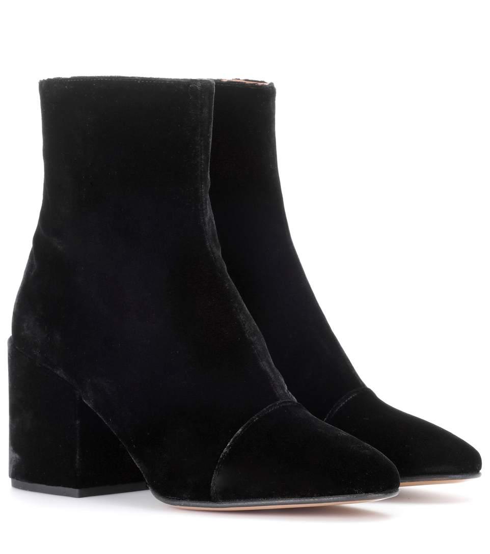 Dries Van Noten Velvet Ankle Boots In Black