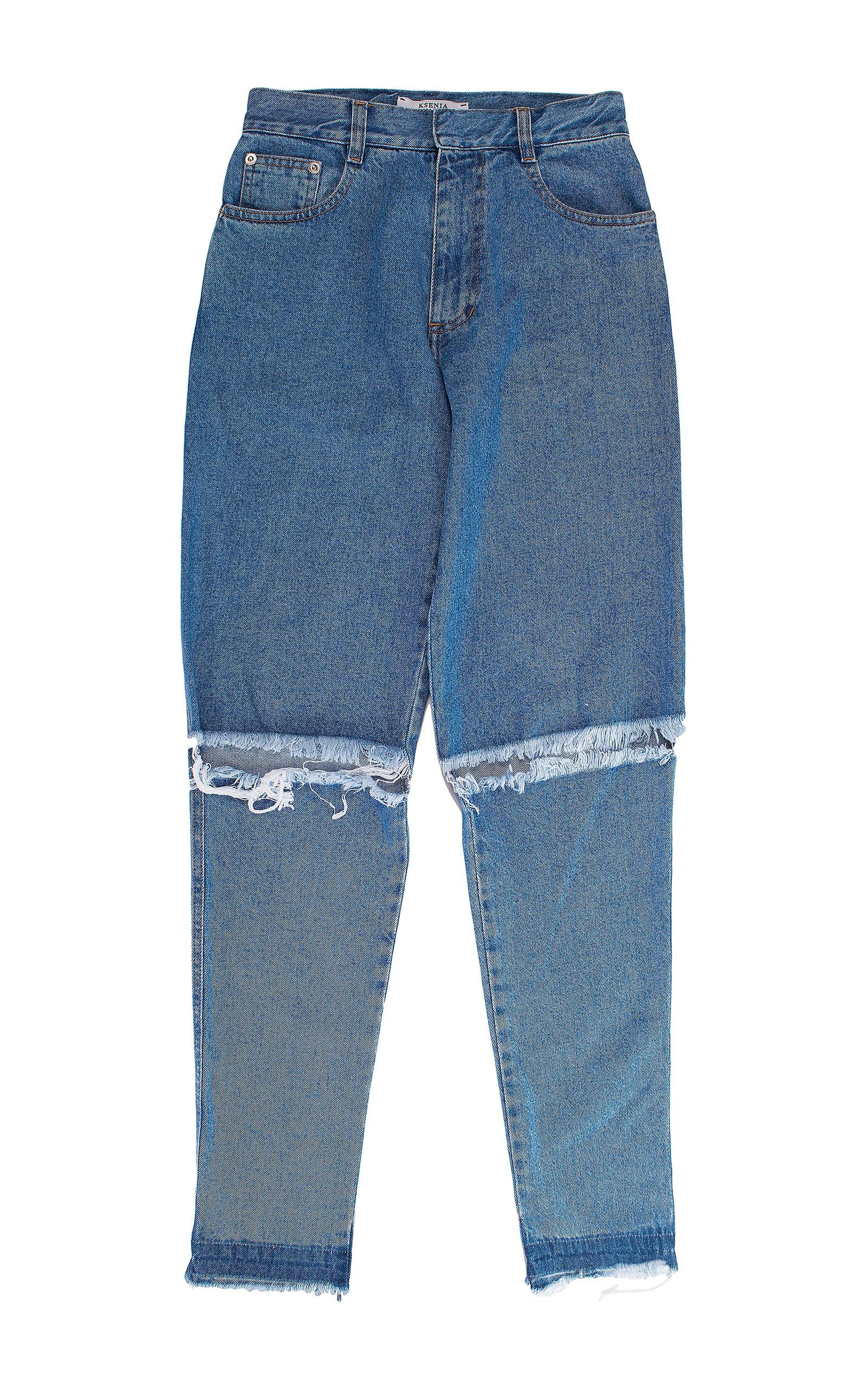 Ksenia Schnaider Demi-denims Wide High-rise Jeans In Blue