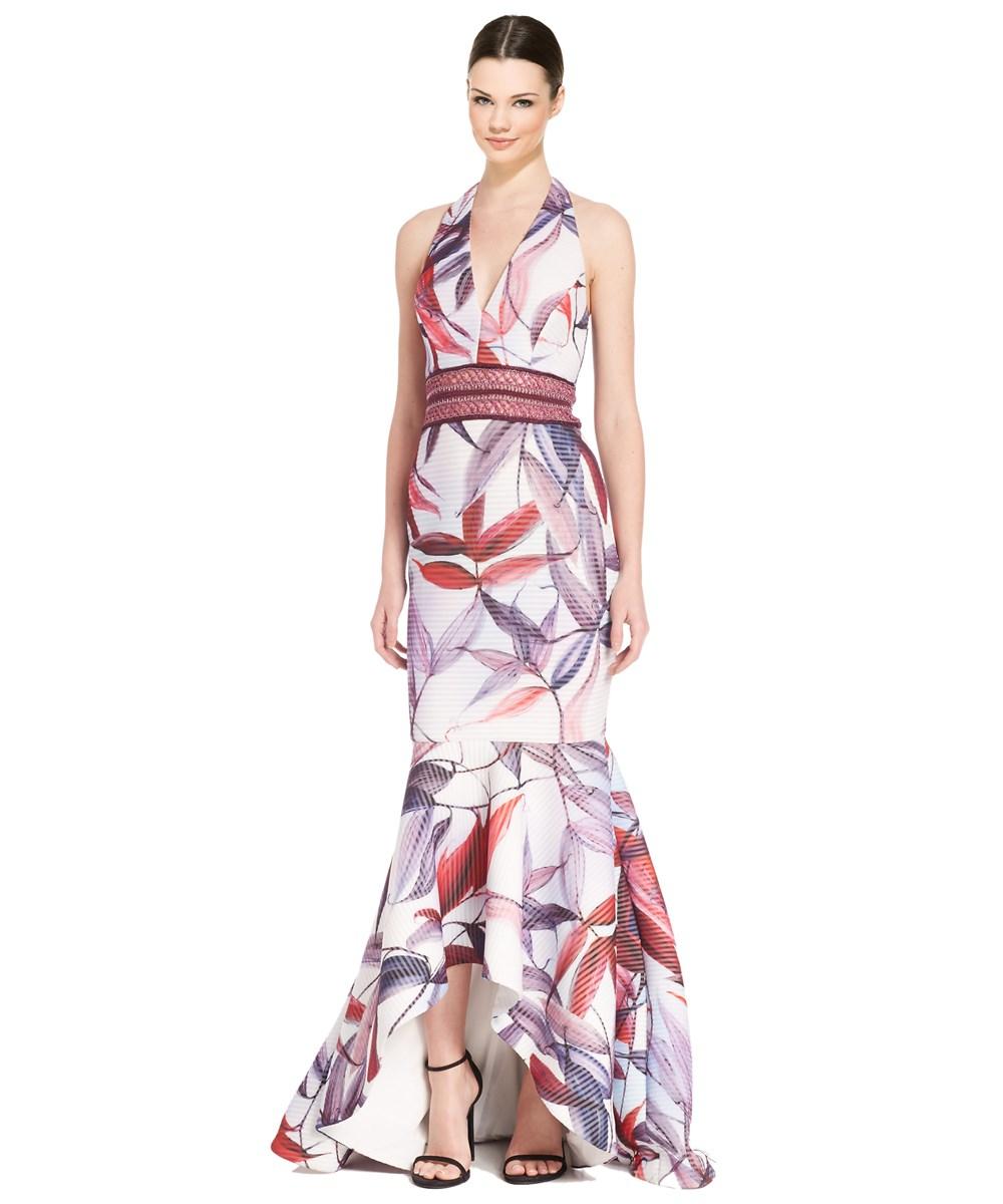 Badgley Mischka Floral Macrame Halter Gown In Multiple Colors
