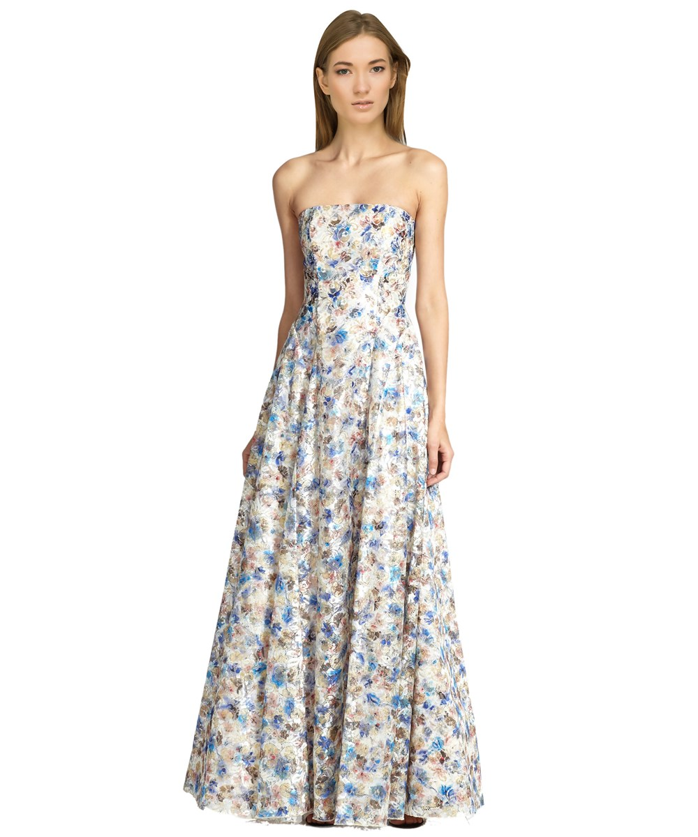 Alice And Olivia Dreema Strapless Floral Lace Gown In Multiple Colors