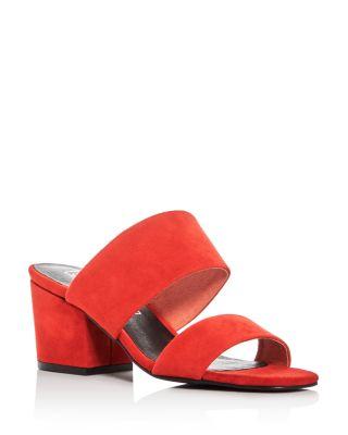 Sol Sana Tina Block Heel Slide Sandals In Flame Red