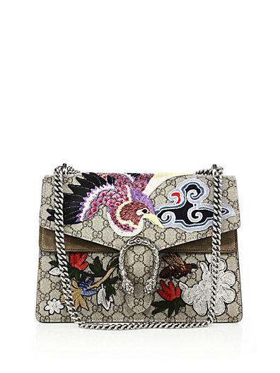 d4cd790bd787 Gucci Dionysus Medium AppliquÉD Coated Canvas And Suede Shoulder Bag In  Beige-Multi