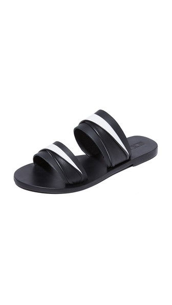 Sol Sana Double Twisted Slides In Black/ivory