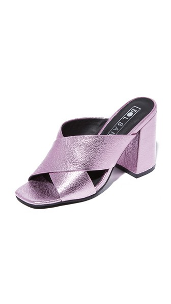 Sol Sana Ginny Metallic Leather High Heel Slide Sandals In Metallic Pink