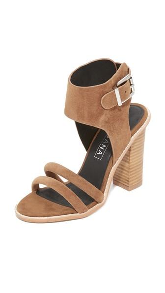 Sol Sana Tiki Heel Sandals In Light Tan