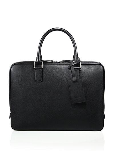 Giorgio Armani Saffiano Leather Briefcase In Black