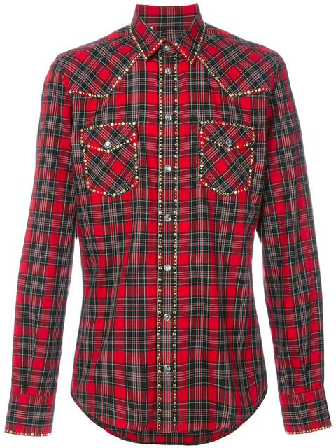 Dolce & Gabbana Slim-fit Studded Checked Cotton-twill Shirt In Red