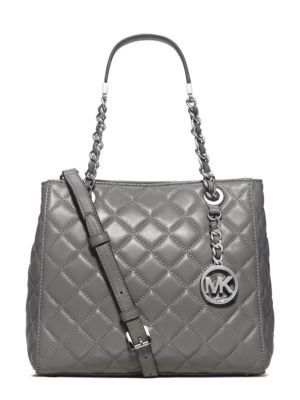 Michael Michael Kors Susannah Small Quilted Leather Tote In Steel Grey