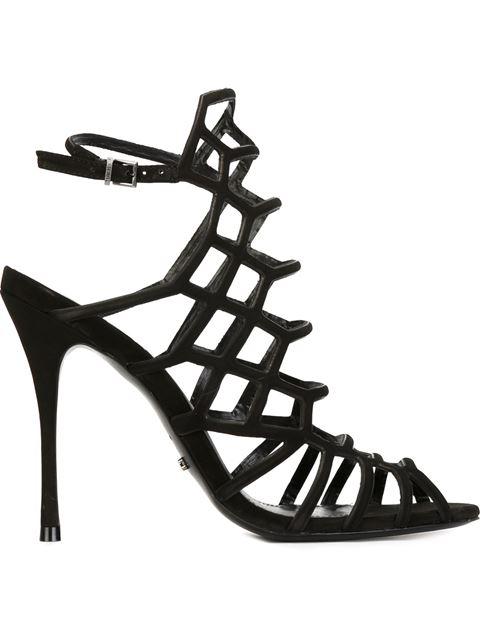 Schutz Juliana Suede Caged Sandals In Black