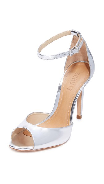 Schutz Women's Saasha Lee Leather Ankle Strap High-Heel Sandals In Prata