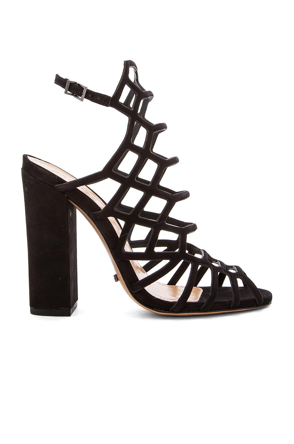 Schutz Jaden Caged Suede Block Heel Sandals In Black
