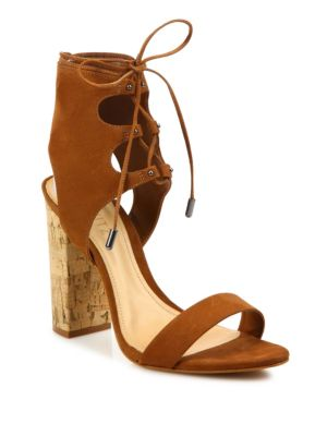 18c97761c10c Schutz Cruz Lace-Up Suede Block Heel Sandals In Saddle