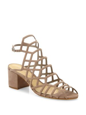 Schutz Bollie Suede Caged Block Heel Sandals In Neutral