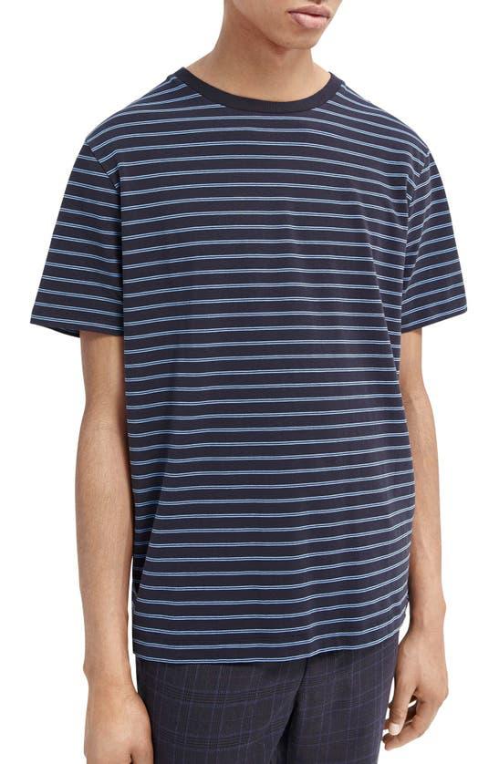 Scotch & Soda Classic Crewneck Cotton Blend T-shirt In Blue