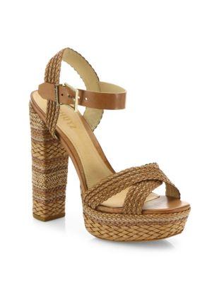 Schutz Lorah Braided Leather Platform Sandals In Desert