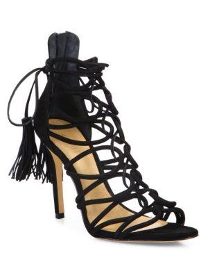 Schutz Valquis Suede Lace-up Cage Sandals In Black