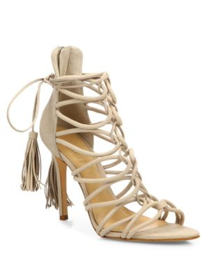 Schutz Valquis Suede Lace-up Cage Sandals In Oyster