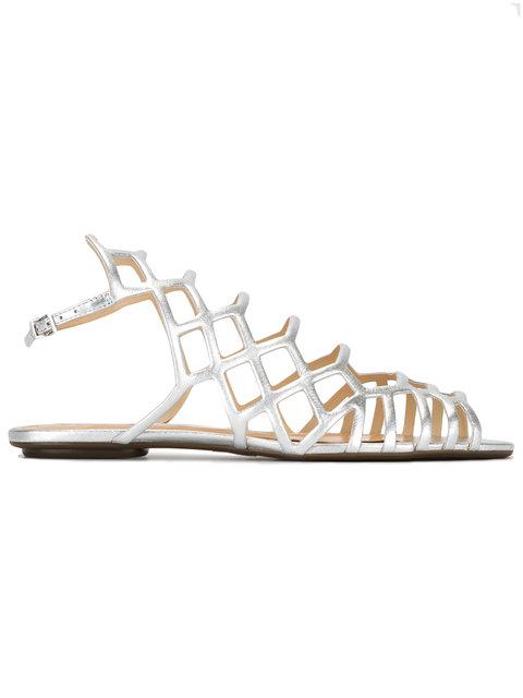 Schutz Cage-style Sandals In Silver