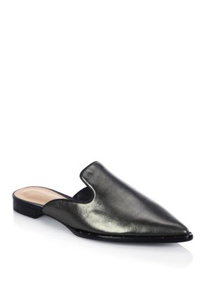 Schutz Tae Leather Slip-on Flat Sandal In Metallic Grey