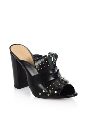 Schutz Woman Janny Fringed Studded Glossed-leather Mules Black