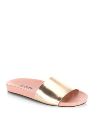 Schutz Camilis Flat Sandals In Rose Tan