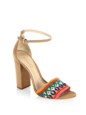 Schutz Joannas Embroidered Sandals In Desert Multi