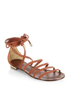 Schutz Victore Leather Sandals In Summer Rust