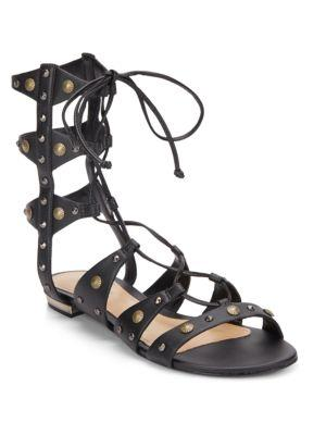 Schutz Samena Studded Leather Lace-up Gladiator Sandals In Black
