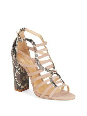 Schutz Kaye Open Toe Ankle Strap Sandals In Neutral