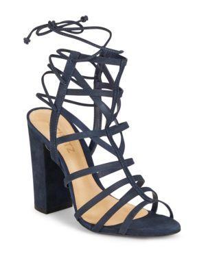 Schutz Loriana Leather Open Toe Cage Sandals In Sailfish