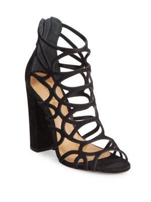 Schutz Open-toe Leather Sandals In Black